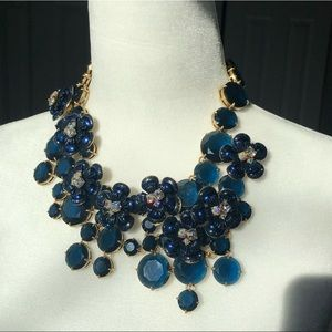 J Crew navy midnight floral rhinestone necklace